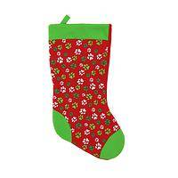 In Hopes of Saint Nicholas - Fur Kids Paw Print Christmas Stocking
