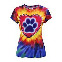 Hearts Aflame - Bold Tie-Dye Paw Print Heart Poly/Spandex Fitted Tee