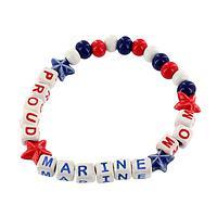 Proud Marine Mom Bracelet - Ceramic Marine Mom's Pride Bracelet