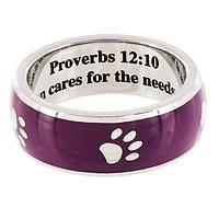 Caretaker Ring - Stainless Steel and Enamel Paw Ring with Proverbs 12:10