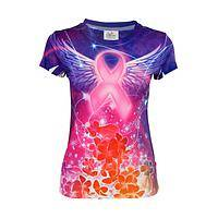 Angelic Realms - Magical Angel Wings Pink Ribbon Fitted Poly/Spandex Tee