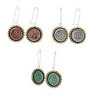 Eco Buttons - Swazi Recycled Bottle Top & Button Handmade Earrings