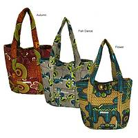 Be Bold Shopping Tote - Ugandan Waxcloth Handprinted Shopping Bag