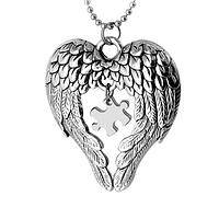 Embraced by an Angel - Angel Wings Hold an Autism Puzzle Piece Necklace