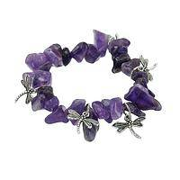 Energetic Style - Stretch Bracelet With Purple Amethyst Stones and Dragonflies