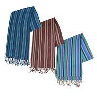 Soft Spectrum - Hand-Woven Viscose/Cotton Striped Scarf