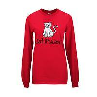 Cat ID - 100% Cotton Cat Person Long Sleeve Red Tee Shirt