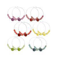 Circles of Fantasy - Multi-Colored Chirilla Seeds Adorning Hoop Earrings