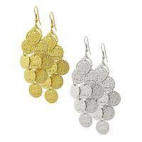 Cluster and Chime - Handmade Indian Silver and Gold-Toned Metal Disk Earrings