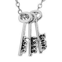 Keys to Happiness - Faith, Hope, Love Keys Silver-Tone Metal Charms Necklace