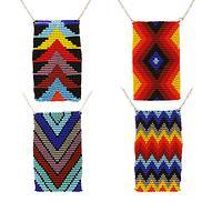 Bright and Trendy - Geometric Handmade Fair-Trade Beaded Pendant Necklace
