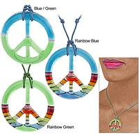 Inspire Peace - Handcrafted Glass Peace Symbol Adjustable Necklace