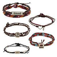 Loving Sentiment - Beaded Woven Bracelets With Sentimental Charms