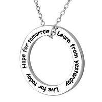 Hope, Live, and Learn - A Platinum Plated Hoop Live For Today Pendant