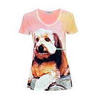 Love Me Puppy Tee - Dog with Flower Comfy Stretch Fitted T-Shirt