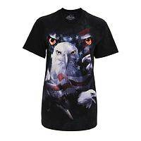 The Eyes of Freedom - Patriotic Eagle & American Flag Print Cotton Tee-Shirt