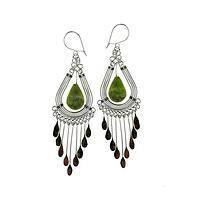 Shining Dewdrops - Serpentine and Silver Dangling Chandelier Earrings