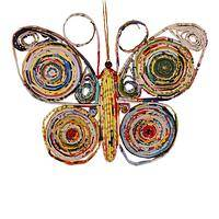 Pinwheels of Grace - Recycled Magazine Handmade Butterfly Holiday Ornament