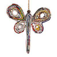 On Upcycled Rainbow Wings - Eco-Friendly Recycled Magazine Pages Dragonfly Ornament