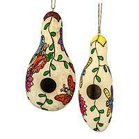 Gorgeous Springtime - Hand-Painted Hollowed Gourd Colorful Bird House