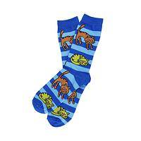 Fancy Cats - Boldly Striped Socks With Napping Kitties