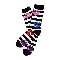 Technicolor Paw Prints - A Rainbow of Paw Prints Striped Socks