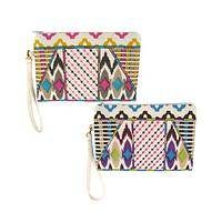 Colorful Style - Women's Cotton Zippered Clutch With Colorful Tribal Pattern
