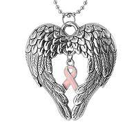 Surrounded by Support - Pink Ribbon Surrounded by Angel Wings Charm Necklace