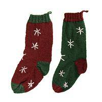 Toasty Toes - Handmade Nepalese Wool Snowflake-Embroidery Stocking