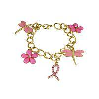 Charming  - Women's Bracelet with Pink Ribbon and Flower Charms
