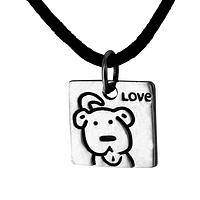 Dogs Are Love - Sterling Silver Dog Lover Pendant on Black Cord