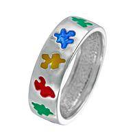 Across the Spectrum - Sterling Silver & Enamel Autism Awareness Puzzle Pieces Ring