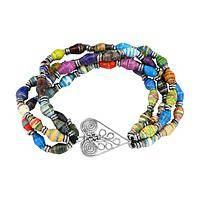 Heart of the Earth - Eco-Friendly Recycled Magazine Beads and Heart Bracelet
