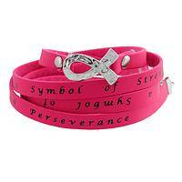 Symbol of Strength - Pink Ribbon Inspiration Wrap Bracelet