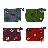 Wheels of Good Fortune - Handmade Felted Wool Zippered Pouch with Pinwheels