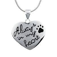 Always in My Heart - Paw Print Pet Lover's Sterling Pendant Necklace