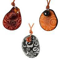 Elegant Eco Style - Tagua Nut Hand Carved and Etched Pendant Necklace