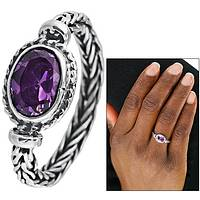 Royal Fantasy - Amethyst Ring With Band of Braided Sterling Silver