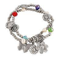 Whimsical Swirls & Butterflies - A Darling Stretchy Bracelet with Pearls and Designer Charm
