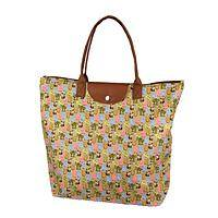 Kitty Carry-All - Cat-Themed Nylon Folding Tote Bag with Faux Leather Trim