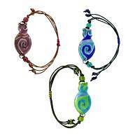 Silhouette in Swirl - Cat Shape Artisan Glass Bracelet