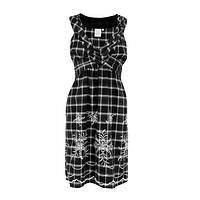 Check Me Out - All-Cotton Embroidered Stunning Floral and Checks Sundress