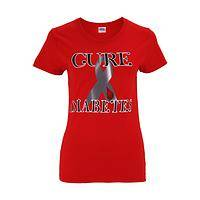 Strong Statement - Red T-Shirt Emblazoned With Cure Diabetes and Gray Ribbon