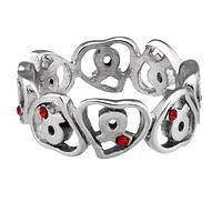 Heart Full of Awareness - Stainless Steel Rhinestone Ring for Diabetes Support