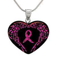 On Hopeful Wings - Pink Ribbon Handmade Angel Wings Dichroic Heart Necklace