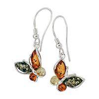 Four Seasons In Flight - Colorful Baltic Amber and Sterling Silver Butterfly Earrings