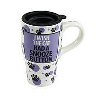 Feline Tired This Morning? - Wish The Cat Had A Snooze Button Travel Mug