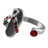 Walking Strong - Glittering Red Czech Crystal Diabetes Awareness Ring