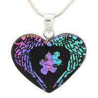 Shimmering Support - Autism Awareness Dichroic Glass Angel Wing Heart Pendant