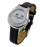 Cat in Vogue - Silvery Swarovski-Crystal Encrusted Cat Watch